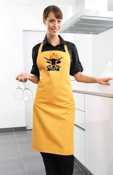Gelbe Grillschürze Meet Fire Beer BBQ