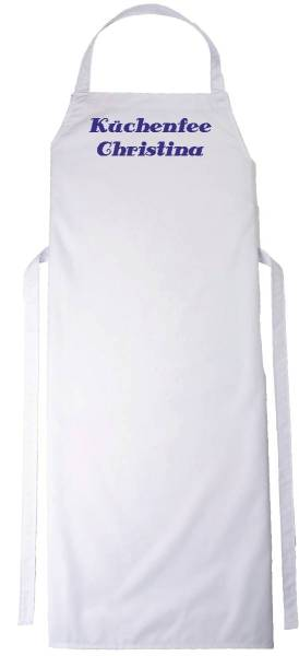 Weiße Schürze mit Name bedruckt 110x75cm