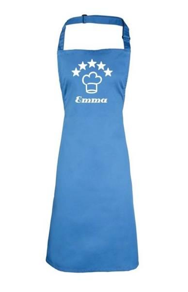 saphierblaue Motivschürze 5 Sterne deluxe bedruckt mit Kochmütze und Name