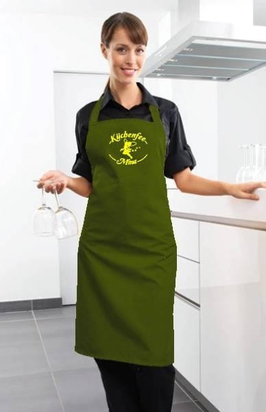 Olivgrüne Motivschürze Küchenfee mit Name bedruckt