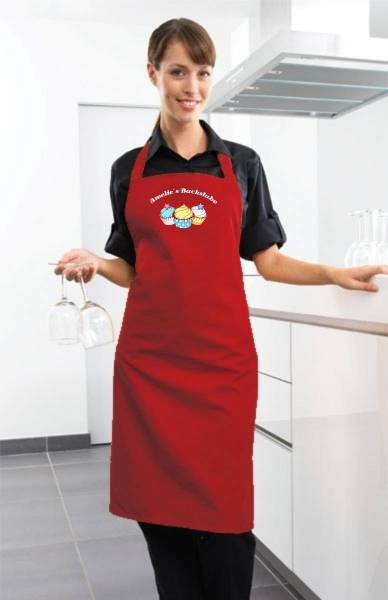 Rote Motivschürze Cupcake mit Name CB2N