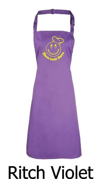 Violette Schürze Heute kocht Smiley mit Name