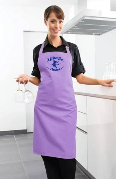 Lilac Motivschürze Küchenfee mit Name bedruckt