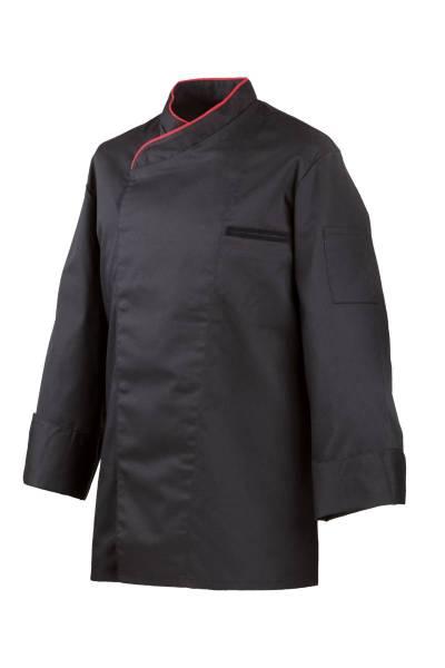 Schwarze Kochjacke mit roter Paspelierung, verdeckte Knopfleiste EX212