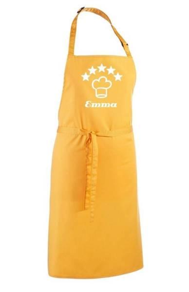 Gelbe Motivschürze 5 Sterne deluxe bedruckt mit Kochmütze und Name