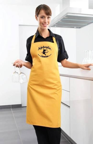 Gelbe Motivschürze Küchenfee mit Name bedruckt