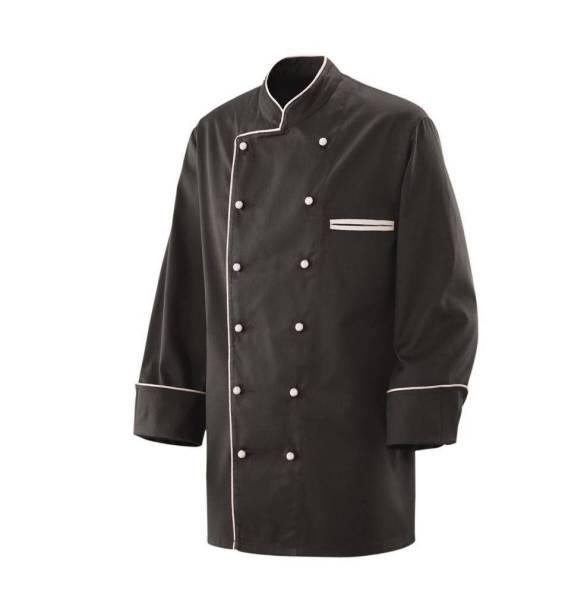 Schwarze Kochjacke mit weißer Paspelierung