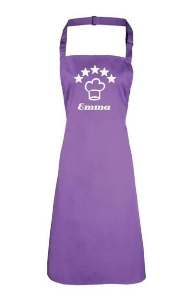 Violette Motivschürze 5 deluxe bedruckt mit Kochmütze und Name