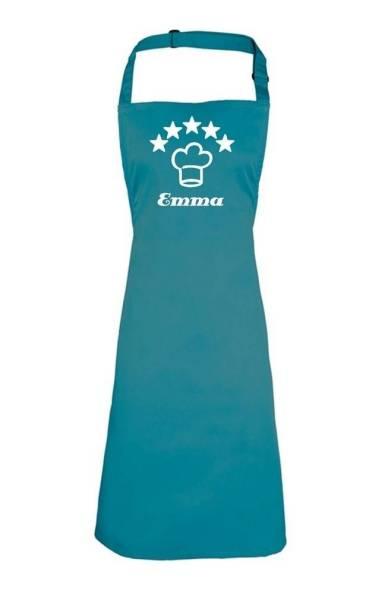 tealblaue Motivschürze 5 Sterne deluxe bedruckt mit Kochmütze und Name