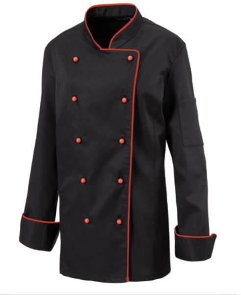 Schwarze Damenkochjacke mit roter Paspel Exner 219