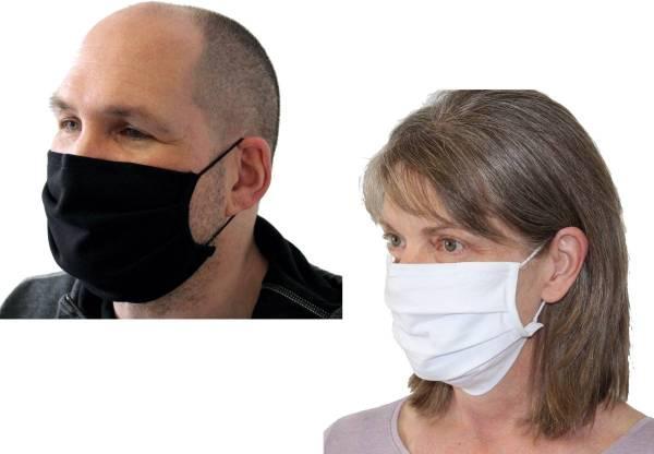 Mund-Nasen-Maske Baumwolle schwarz und weiss