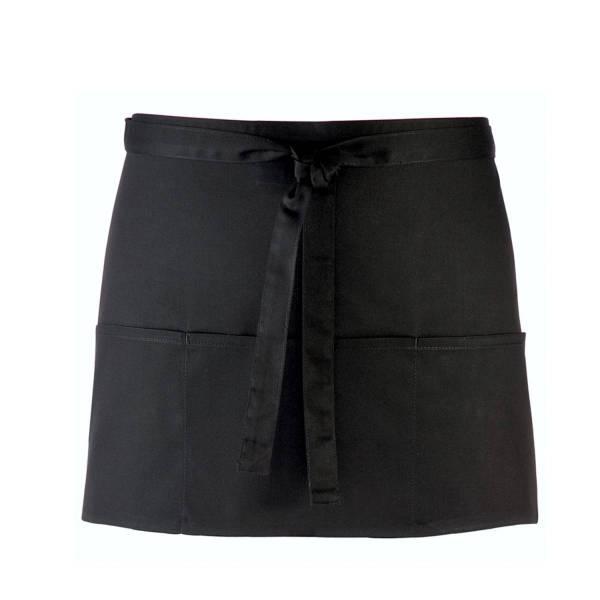 schwarzer Vorbinder / kurze Kellnerschürze schwarz