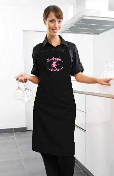 Schwarze Motivschürze Küchenfee mit Name bedruckt