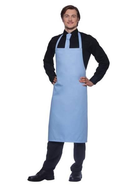 Hellblaue Schürze, Nackenband mit Druckknöpfen Santorini von Karlowsky