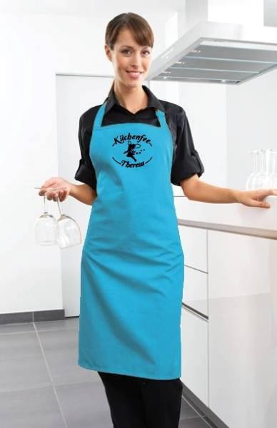 Türkise Motivschürze Küchenfee mit Name bedruckt