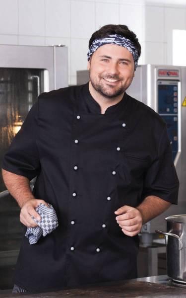 Schwarze Kochjacke Bäckerjacke halbarm