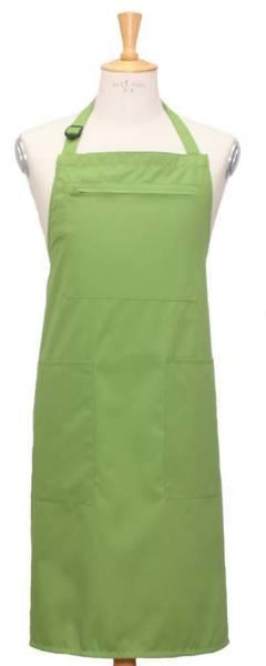 Hellgrüne Latzschürze mit Reißverschlußtasche + 2 offene Seitentaschen
