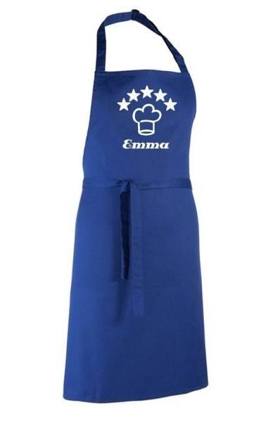 Royalblaue Motivschürze 5 Sterne deluxe bedruckt mit Kochmütze und Name