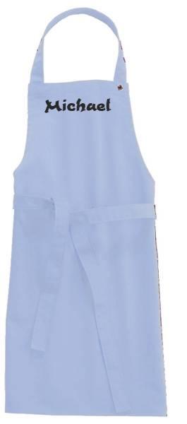 Hellblaue Kinderschürze mit Name 78x50cm freitex