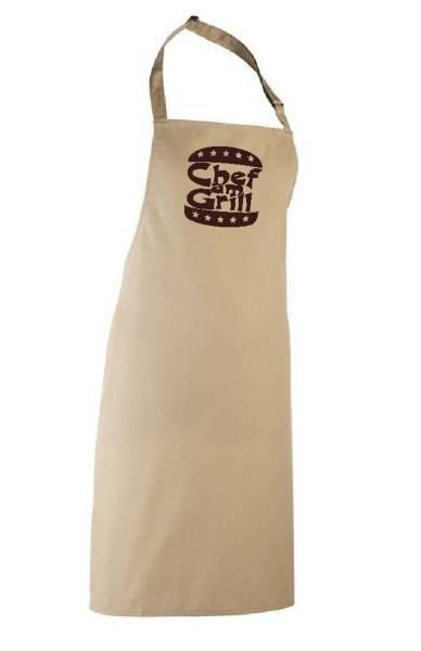 Hellbraune Schürze Chef am Grill