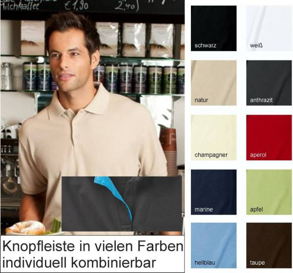Polo-Shirt individuelle Knopfleiste in Kontrastfarbe