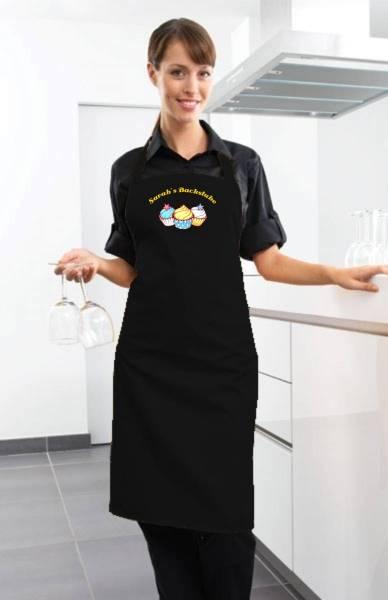Schwarze Motivschürze Cupcake mit Name CB2N