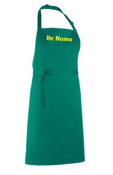 Emeraldgrüne Schürze mit Name bedruckt