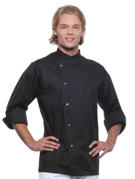 schwarze Kochjacke mit Druckknöpfen Lars