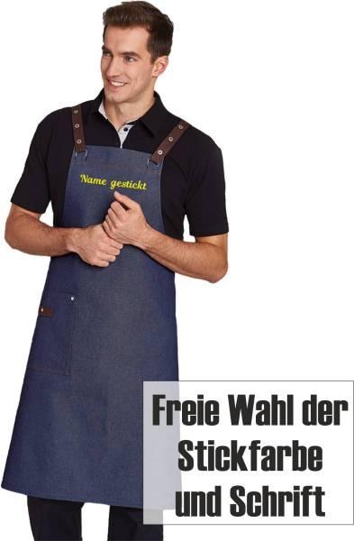 Jeans Latzschürze Crossback bestickt