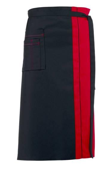 Schwarze Bistroschürze Kontrastfarbe rot