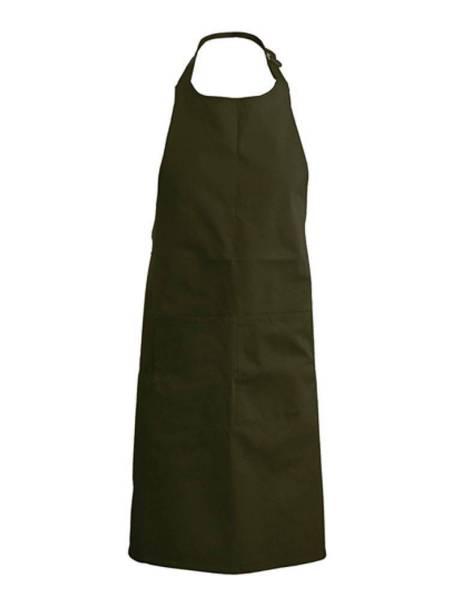 Oliv Baumwollschürze mit Taschen Kariban K889