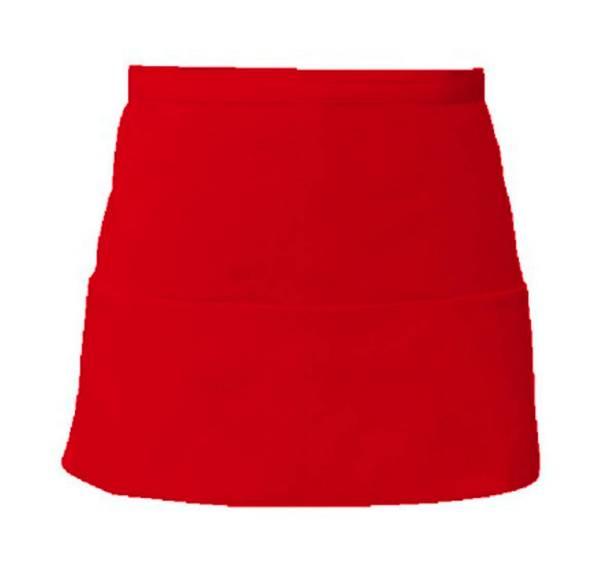 Roter Vorbinder mit 3 offenen Taschen