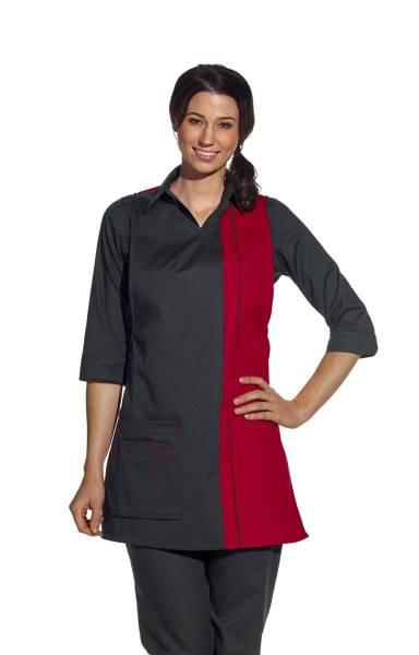 Überwurfschürze 2-farbig, schwarz-rot lb2541