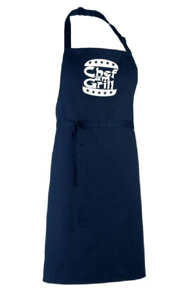 Dunkelblaue Schürze Chef am Grill Navy