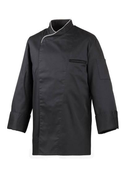 Schwarze Kochjacke mit grauer Paspelierung, verdeckte Knopfleiste EX212