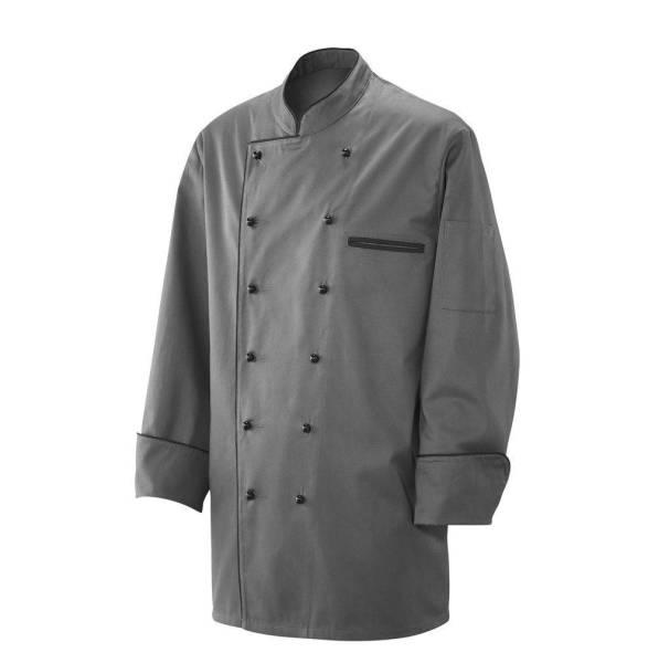 graue Kochjacke mit schwarzer Paspelierung