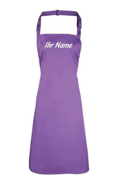 Violette Schürze mit Name bedruckt, individuell