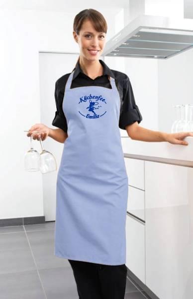 Hellblaue Motivschürze Küchenfee mit Name bedruckt