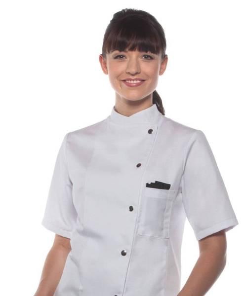 weiße Damenkochjacke Kurzarm Greta
