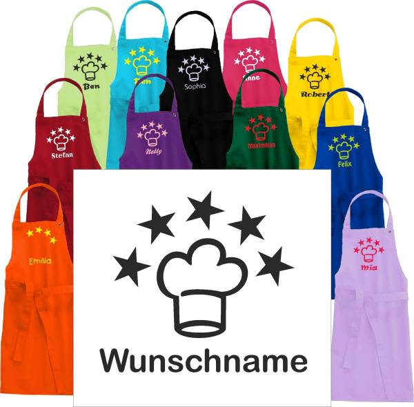 Kinderschürze mit Name und 5 Sterne Kochmütze bedruckt
