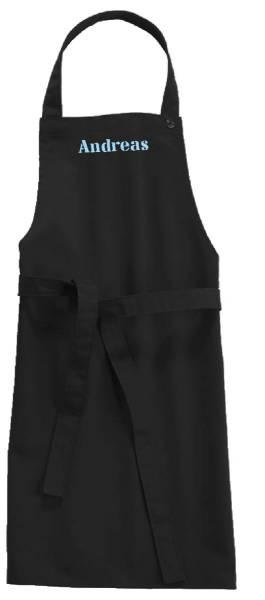 Schwarze Kinderschürze mit Name 78x60cm freitex