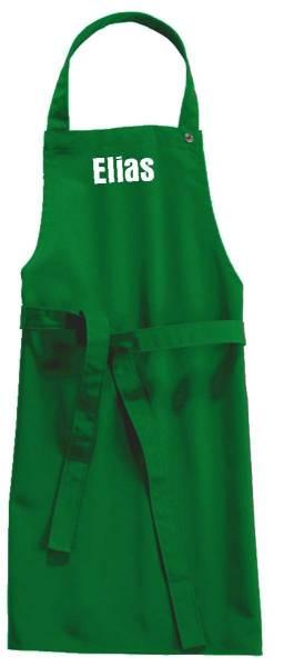 Grüne Kinderschürze mit Name 78x50cm freitex