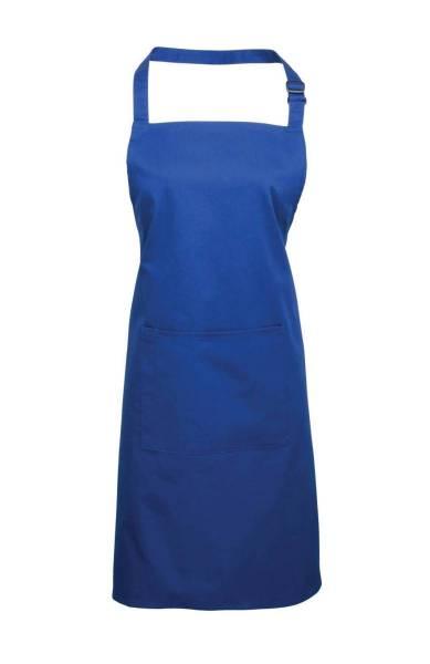 royal Latzschürze mit Tasche blau
