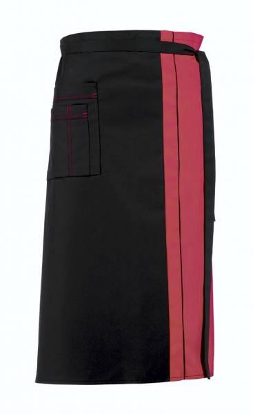 Schwarze Bistroschürze Kontrastfarbe 2-farbig rosa