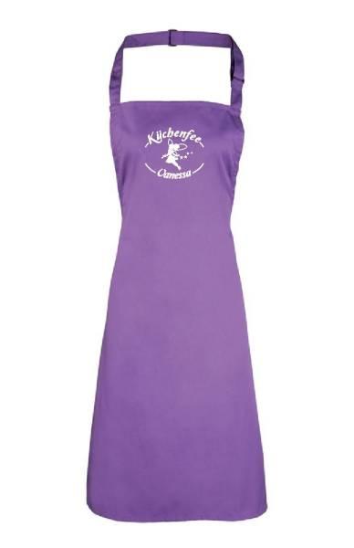 Violette Motivschürze Küchenfee mit Name bedruckt