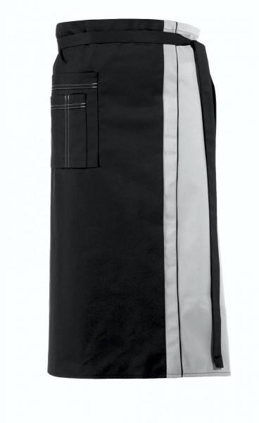 Schwarze Bistroschürze Kontrastfarbe grau