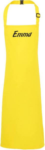 Gelbe Kinderschürze mit Name Bastelschürze