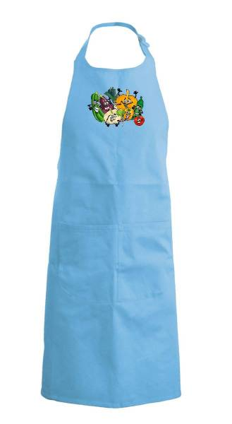 Hellblaue Kinderschürze Gemüse k889