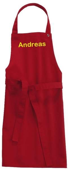 Rote Kinderschürze mit Name 78x50cm freitex