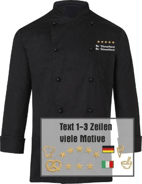 Schwarze Kochjacke bestickt 100% Baumwolle BJM1